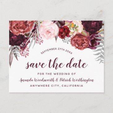 burgundy marsala fall peony save the date