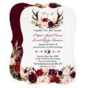 burgundy marsala floral antlers monogram wedding invitations
