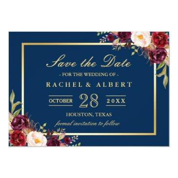 Small Burgundy Marsala Floral Blue Wedding Save The Date Invitation Front View