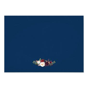 Small Burgundy Marsala Floral Blue Wedding Save The Date Invitation Back View