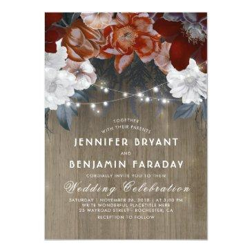 Small Burgundy Marsala Floral Chic String Lights Wedding Invitationss Front View
