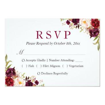 Small Burgundy Marsala Red Floral Autumn Wedding Rsvp Invitation Front View