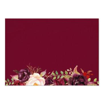 Small Burgundy Marsala Red Floral Autumn Wedding Rsvp Back View