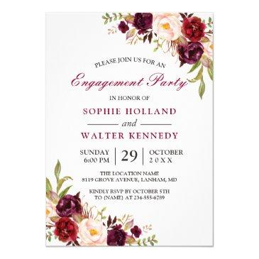 burgundy marsala red floral chic engagement party
