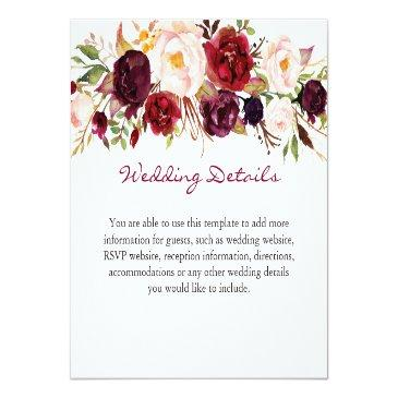 Small Burgundy Marsala Red Floral Wedding Details Info Invitationss Front View