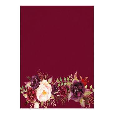 Small Burgundy Marsala Red Floral Wedding Details Info Invitationss Back View