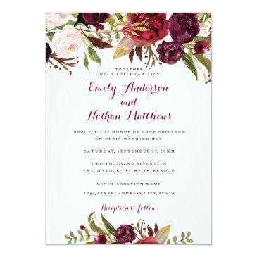 Small Burgundy Red Floral Fall Wedding Invitation Front View