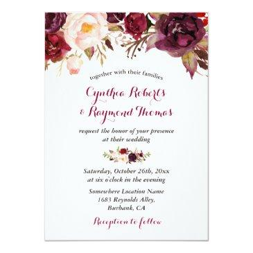 Small Burgundy Red Marsala Floral Chic Fall Wedding Front View