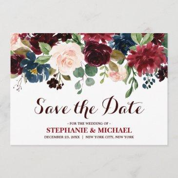 burgundy red navy floral rustic boho save the date
