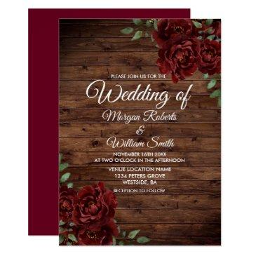 burgundy red rose rustic wood wedding invitation