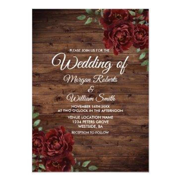Small Burgundy Red Rose Rustic Wood Wedding Invitations Front View
