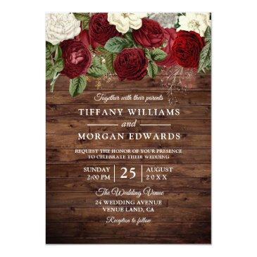 burgundy red white rose rustic wedding invite