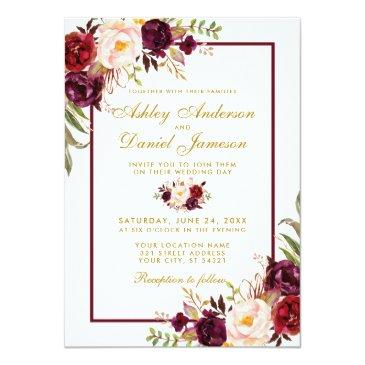 Small Burgundy Watercolor Floral Gold Wedding Invite Bgb Front View