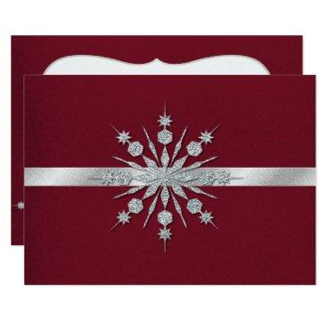 burgundy with snowflakes winter wedding rsvp