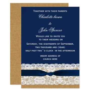 burlap and lace navy wedding