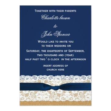 Small Burlap And Lace Navy Wedding Invitation Front View