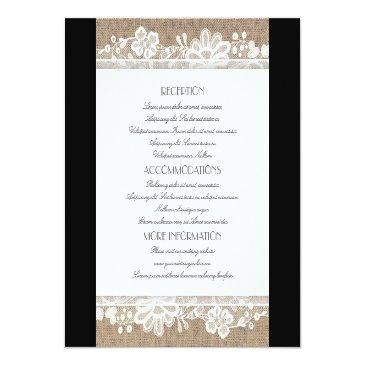 Small Burlap And Lace Wedding Information Front View