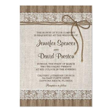 Small Burlap And Lace Wedding Invitation, Rustic Wedding Front View