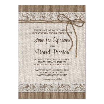 burlap and lace wedding invitation, rustic wedding invitation