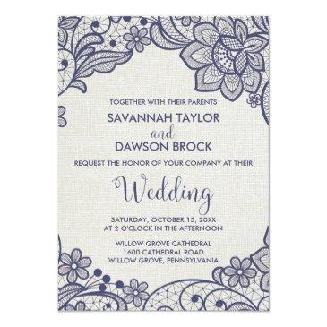 Small Burlap And Navy Lace | Floral Wedding Front View