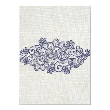 Small Burlap And Navy Lace | Floral Wedding Invitationss Back View