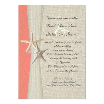 Small Burlap And Starfish Shell Coral Beach Wedding Back View