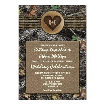 Small Burlap  Carved Heart Camo Wedding Invitation Front View
