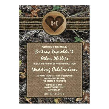 burlap + carved heart camo wedding invitationss