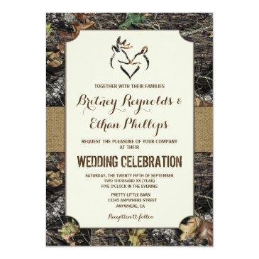 Small Burlap  Deer Hunting Camo Wedding Invitationss Front View