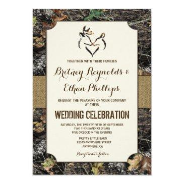 burlap + deer hunting camo wedding invitationss