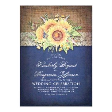 burlap lace and sunflower navy rustic fall wedding invitations