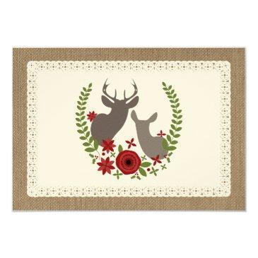 burlap + lace inspired christmas deer r.s.v.p. invitation