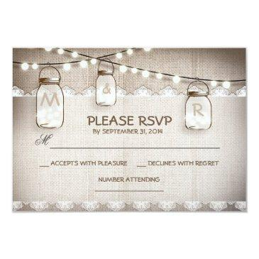 burlap lace lights & mason jar wedding rsvp