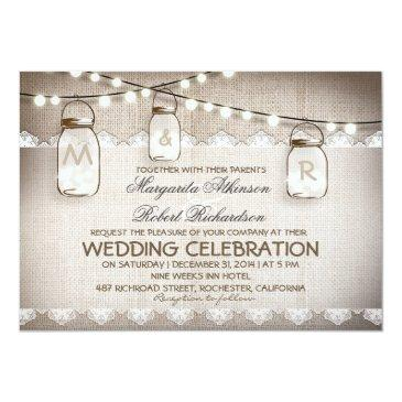 Small Burlap Lace String Lights And Mason Jars Wedding Front View