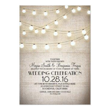Small Burlap Lace & String Lights Rustic Wedding Invites Front View