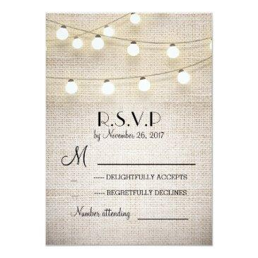 Small Burlap Lights Rustic Elegant Wedding Rsvp Front View