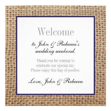 burlap & navy blue wedding welcome