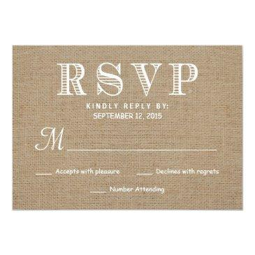 Small Burlap Rsvp Rustic Typography Wedding Reply Invitationss Front View