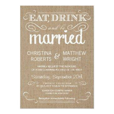 Small Burlap Rustic Country Wedding Invitations Front View