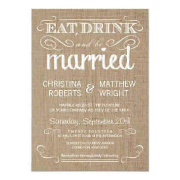 burlap rustic country wedding invitation