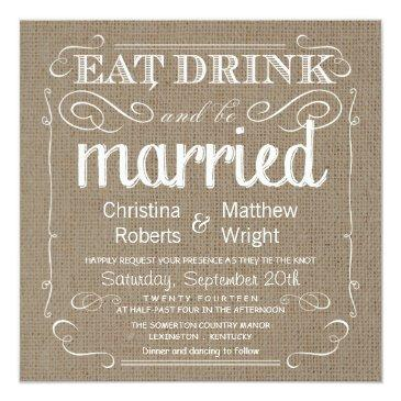 Small Burlap Rustic Vintage Wedding Invitation Front View