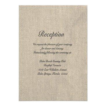 Small Burlap Rustic Wedding Reception Directions Front View