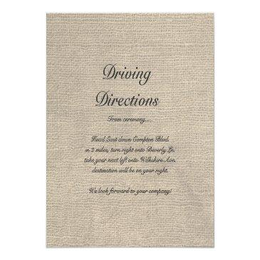 Small Burlap Rustic Wedding Reception Directions Back View