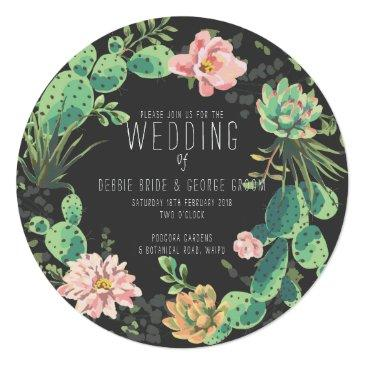 cactus and succulent , wreath wedding invitation