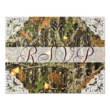 camo and antique white lace wedding rsvp