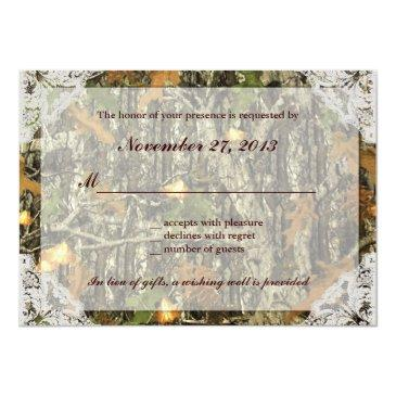 Small Camo And Antique White Lace Wedding Rsvp Back View