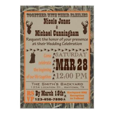 Small Camo And Hunting Burnt Orange Wedding Invitation Front View