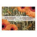 camo and orange daises wedding invitations
