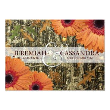 Small Camo And Orange Daises Wedding Front View
