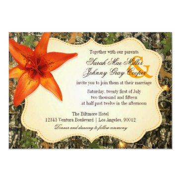 camo and orange lily wedding